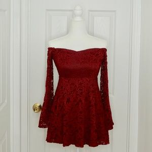 HOUSE OF THREE | LF Red Lace Mini Dress (Size 8)